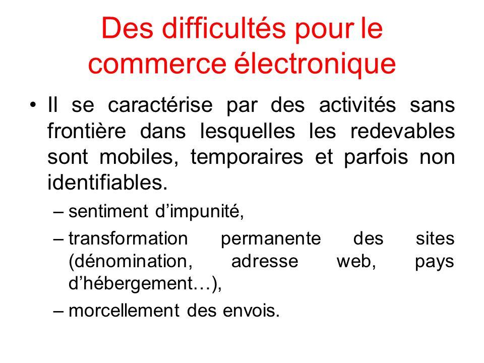 Des difficultés pour le commerce électronique Il se caractérise par des activités sans frontière dans lesquelles les redevables sont mobiles, temporai