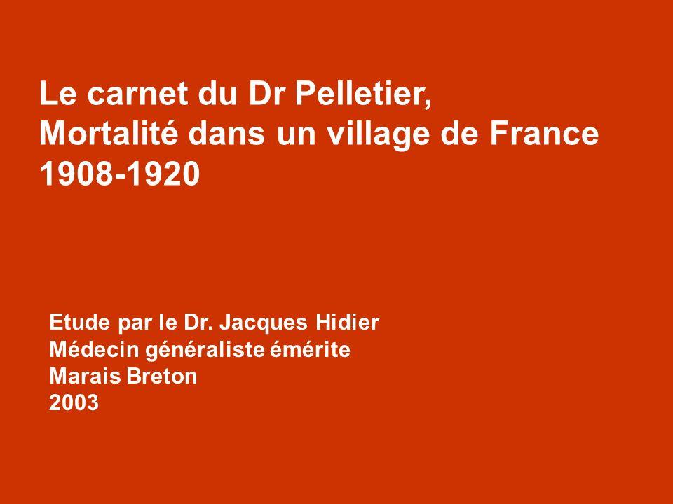 Etude par le Dr. Jacques Hidier Médecin généraliste émérite Marais Breton 2003 Le carnet du Dr Pelletier, Mortalité dans un village de France 1908-192