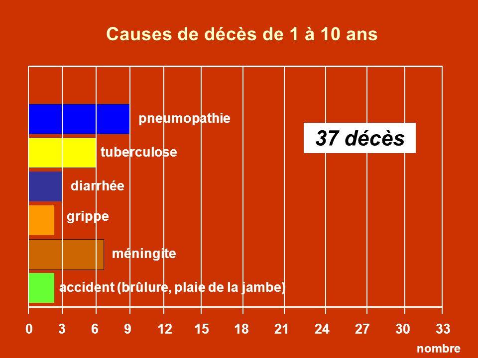 pneumopathie tuberculose 0 3 6 9 12 15 18 21 24 27 30 33 nombre diarrhée Causes de décès de 1 à 10 ans grippe méningite accident (brûlure, plaie de la