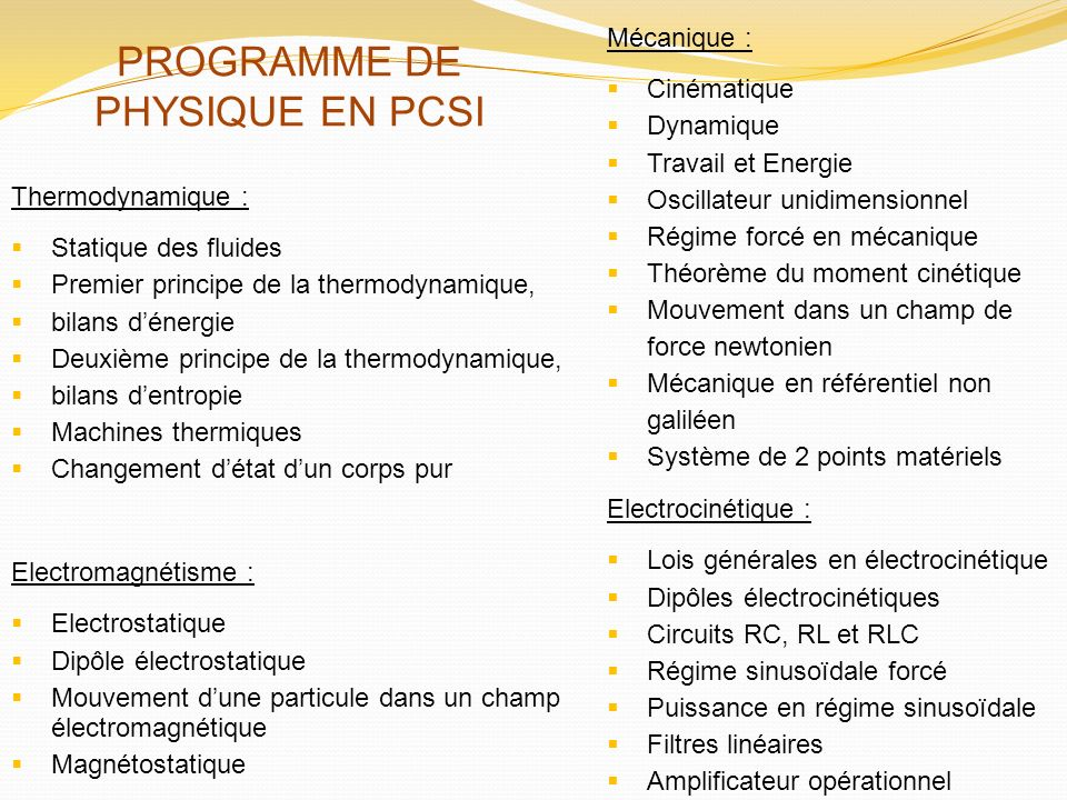 Thermodynamique : Statique des fluides Premier principe de la thermodynamique, bilans dénergie Deuxième principe de la thermodynamique, bilans dentrop