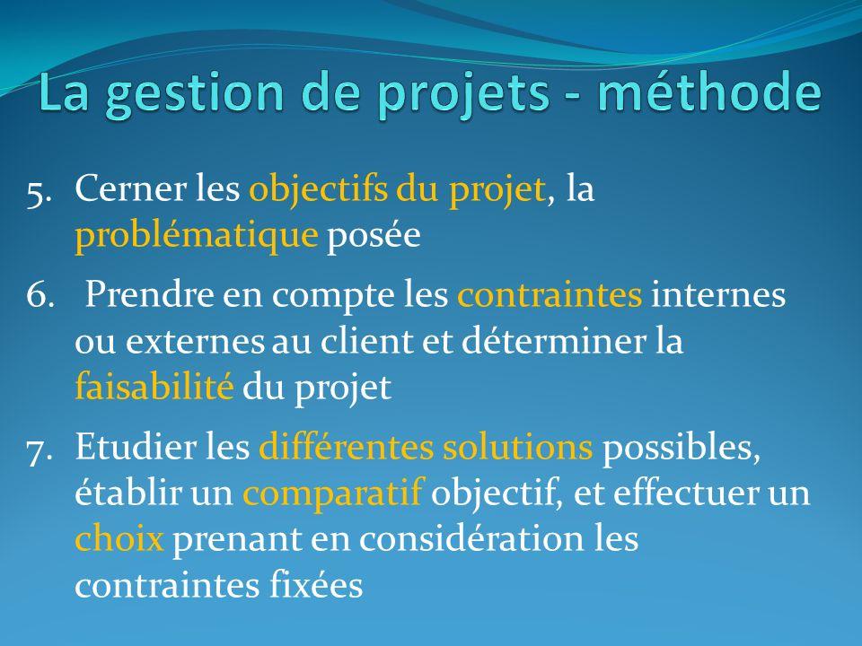 5.Cerner les objectifs du projet, la problématique posée 6. Prendre en compte les contraintes internes ou externes au client et déterminer la faisabil