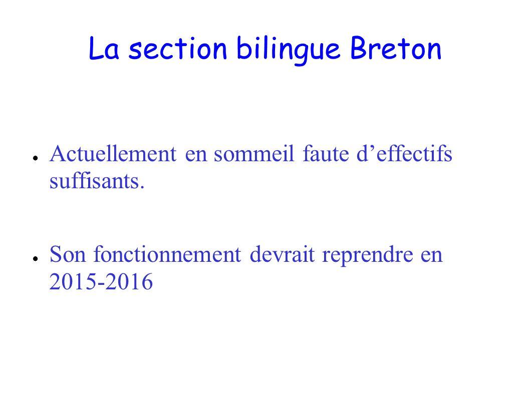 La section bilingue Breton Actuellement en sommeil faute deffectifs suffisants. Son fonctionnement devrait reprendre en 2015-2016