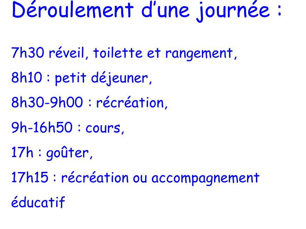 Déroulement dune journée : 7h30 réveil, toilette et rangement, 8h10 : petit déjeuner, 8h30-9h00 : récréation, 9h-16h50 : cours, 17h : goûter, 17h15 :