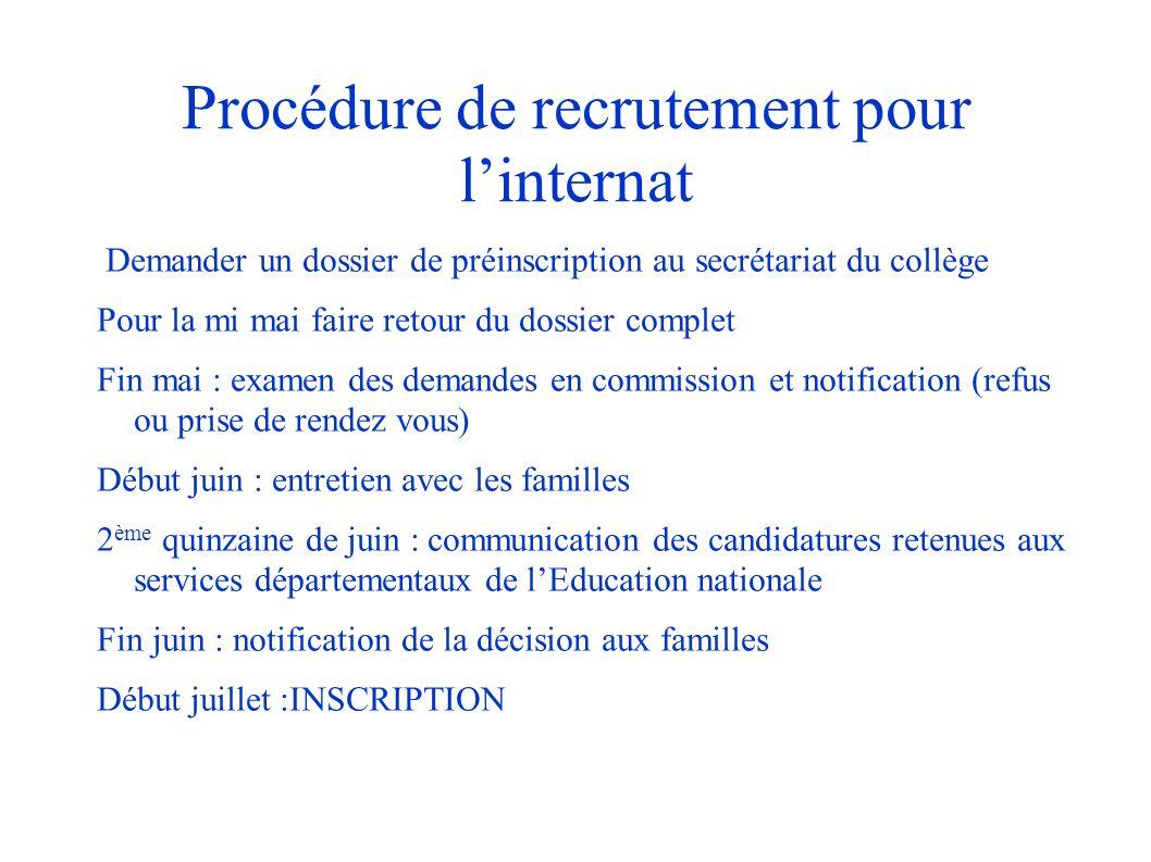 Procédure de recrutement pour linternat Demander un dossier de préinscription au secrétariat du collège Pour la mi mai faire retour du dossier complet