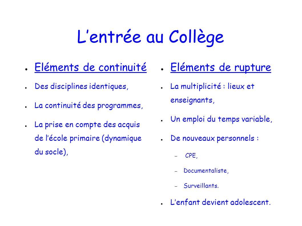 Lentrée au Collège Eléments de continuité Des disciplines identiques, La continuité des programmes, La prise en compte des acquis de lécole primaire (