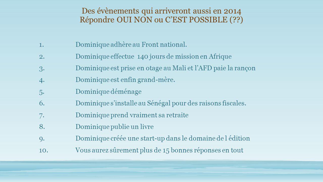 Des évènements qui arriveront aussi en 2014 Répondre OUI NON ou CEST POSSIBLE ( ) 1.Dominique adhère au Front national.
