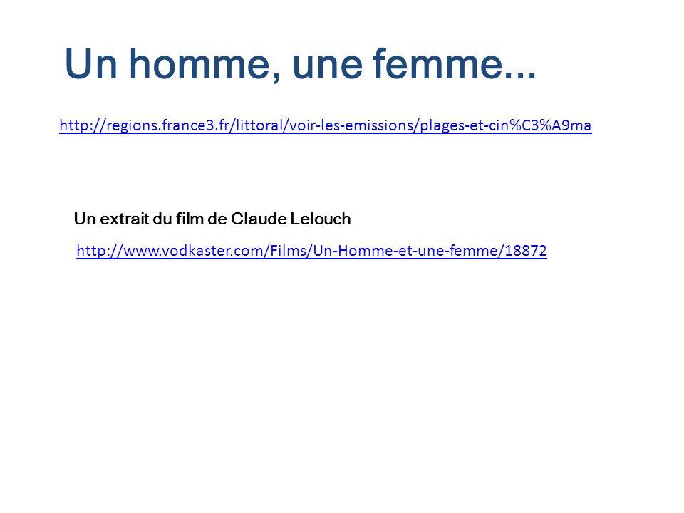 http://regions.france3.fr/littoral/voir-les-emissions/plages-et-cin%C3%A9ma Un homme, une femme... http://www.vodkaster.com/Films/Un-Homme-et-une-femm