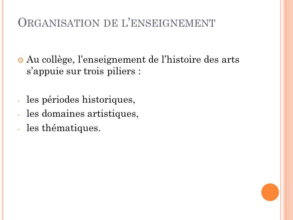 O RGANISATION DE L ENSEIGNEMENT Au collège, lenseignement de lhistoire des arts sappuie sur trois piliers : - les périodes historiques, - les domaines