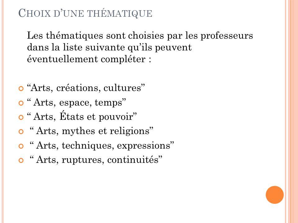 C HOIX D UNE THÉMATIQUE Les thématiques sont choisies par les professeurs dans la liste suivante quils peuvent éventuellement compléter : Arts, créati
