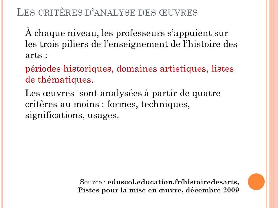 L ES CRITÈRES D ANALYSE DES ŒUVRES À chaque niveau, les professeurs sappuient sur les trois piliers de lenseignement de lhistoire des arts : périodes historiques, domaines artistiques, listes de thématiques.