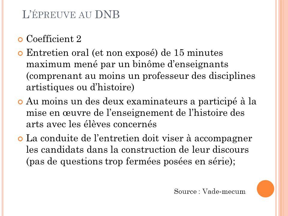 L ÉPREUVE AU DNB Coefficient 2 Entretien oral (et non exposé) de 15 minutes maximum mené par un binôme denseignants (comprenant au moins un professeur