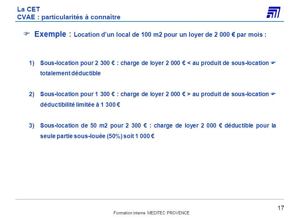 Formation interne MEDITEC PROVENCE Exemple : Location dun local de 100 m2 pour un loyer de 2 000 par mois : 1)Sous-location pour 2 300 : charge de loy