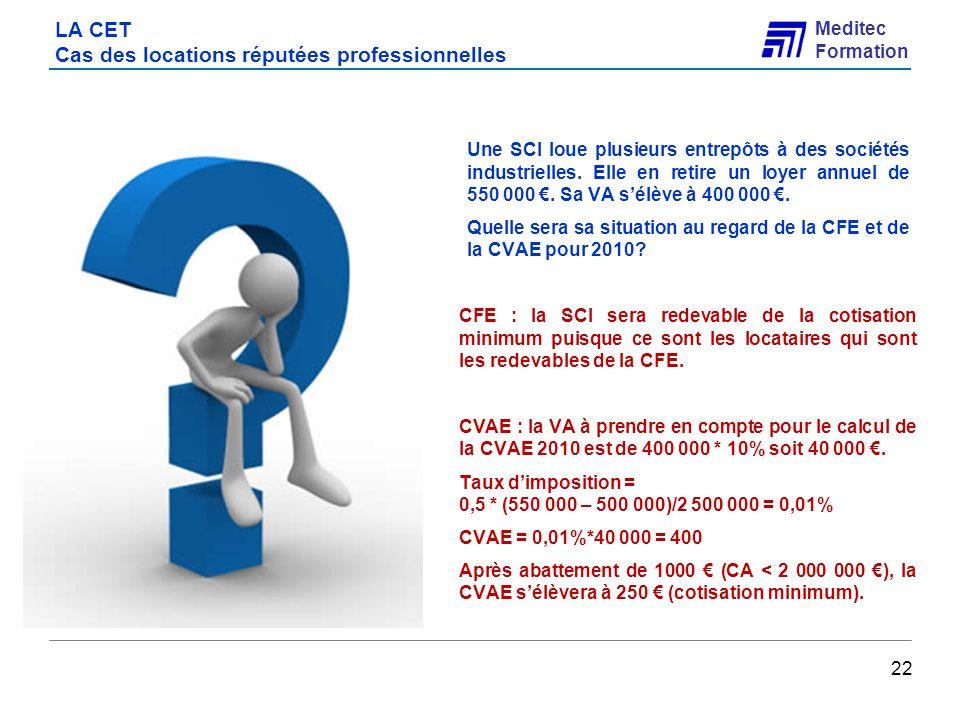Meditec Formation LA CET Cas des locations réputées professionnelles Une SCI loue plusieurs entrepôts à des sociétés industrielles. Elle en retire un
