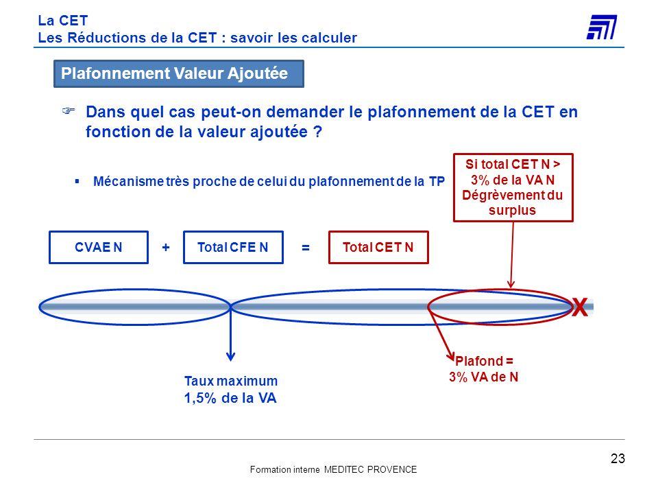 Formation interne MEDITEC PROVENCE Dans quel cas peut-on demander le plafonnement de la CET en fonction de la valeur ajoutée ? Mécanisme très proche d