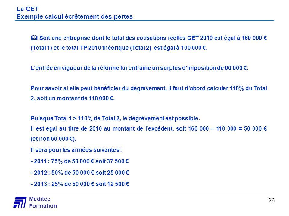 Meditec Formation Soit une entreprise dont le total des cotisations réelles CET 2010 est égal à 160 000 (Total 1) et le total TP 2010 théorique (Total