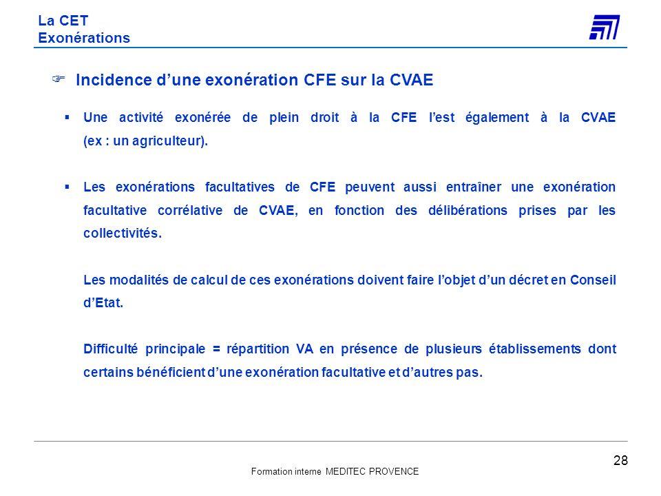 Formation interne MEDITEC PROVENCE Incidence dune exonération CFE sur la CVAE Une activité exonérée de plein droit à la CFE lest également à la CVAE (