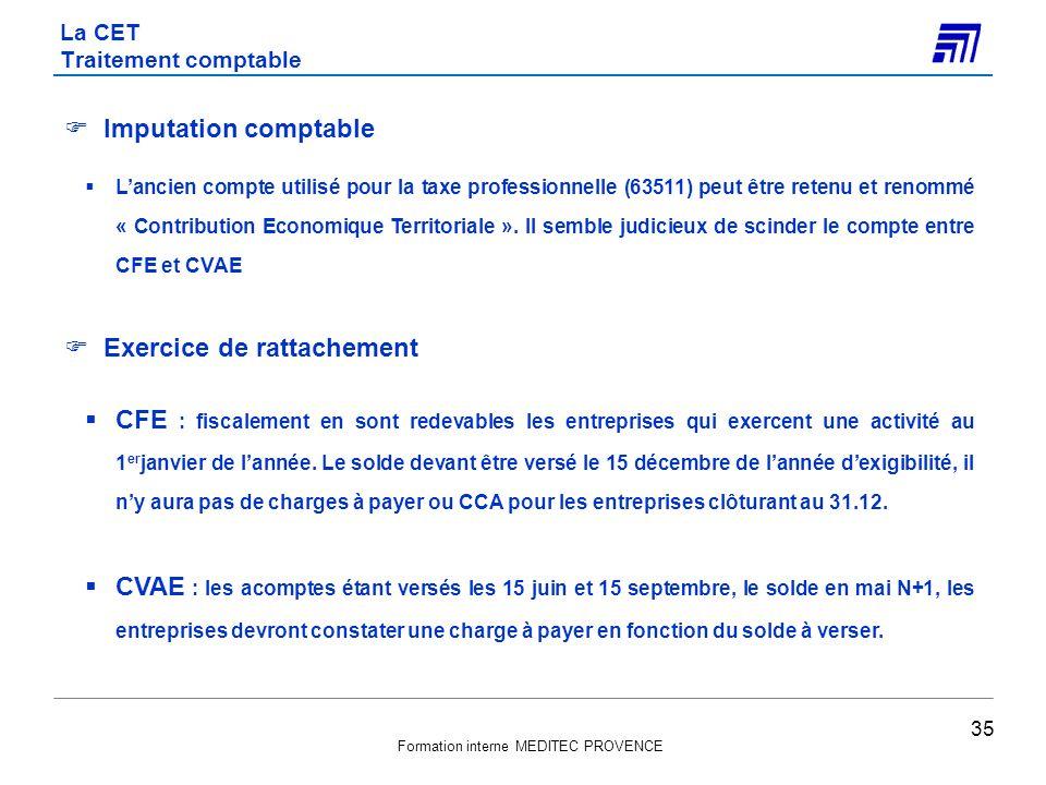 Formation interne MEDITEC PROVENCE Imputation comptable Lancien compte utilisé pour la taxe professionnelle (63511) peut être retenu et renommé « Cont
