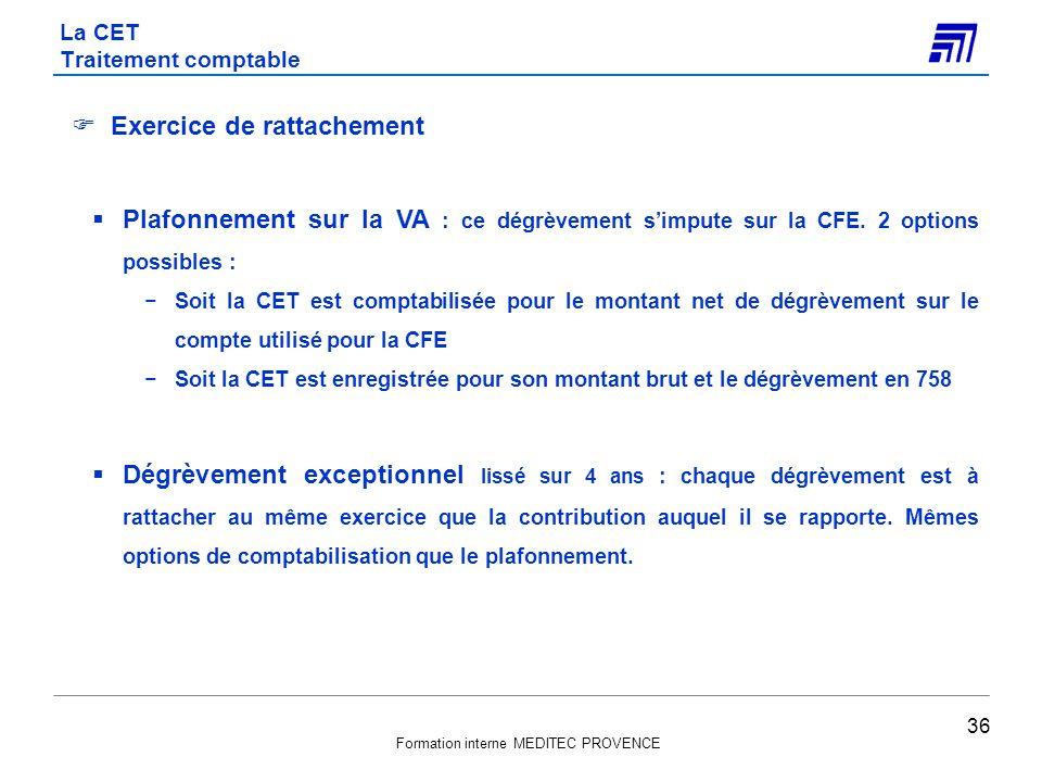Formation interne MEDITEC PROVENCE Exercice de rattachement Plafonnement sur la VA : ce dégrèvement simpute sur la CFE. 2 options possibles : Soit la