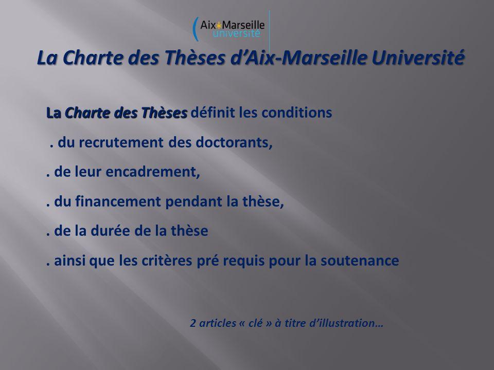 La Charte des Thèses dAix-Marseille Université La Charte des Thèses La Charte des Thèses définit les conditions.
