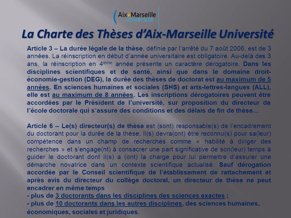 La Charte des Thèses dAix-Marseille Université Article 3 – La durée légale de la thèse, définie par larrêté du 7 août 2006, est de 3 années. La réinsc