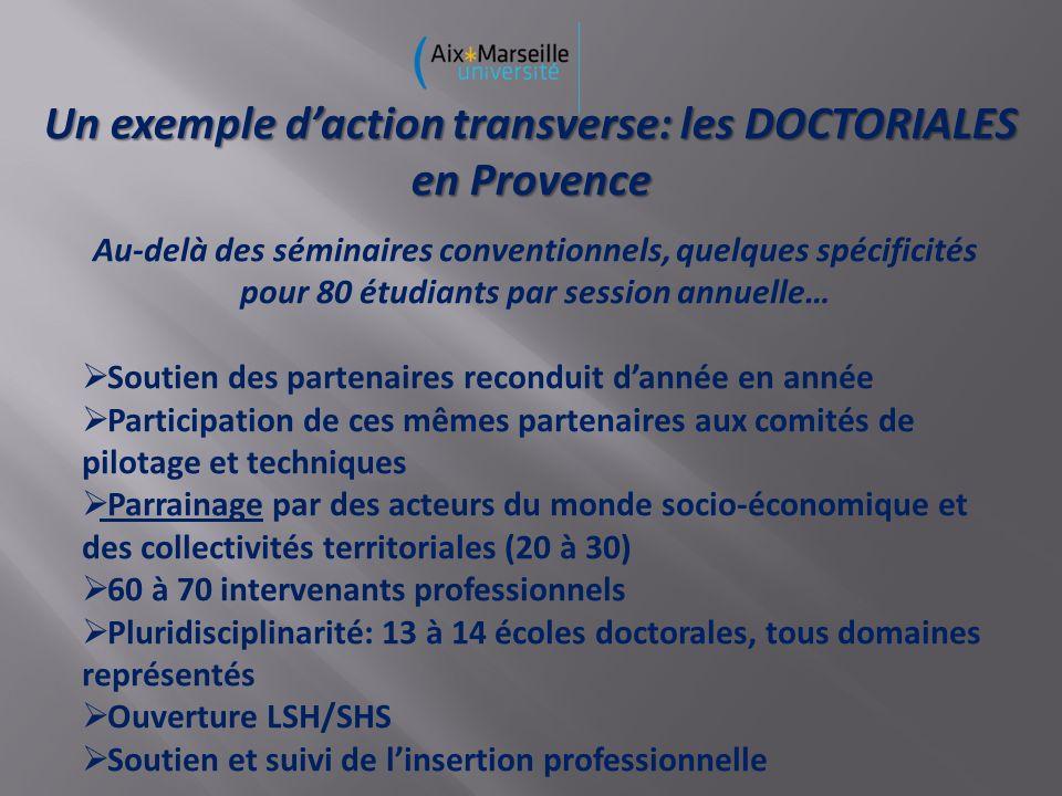 Un exemple daction transverse: les DOCTORIALES en Provence Au-delà des séminaires conventionnels, quelques spécificités pour 80 étudiants par session