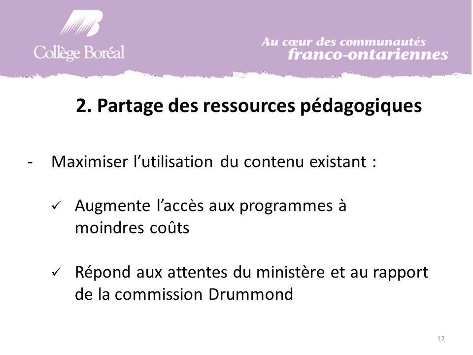 12 -Maximiser lutilisation du contenu existant : Augmente laccès aux programmes à moindres coûts Répond aux attentes du ministère et au rapport de la commission Drummond 2.