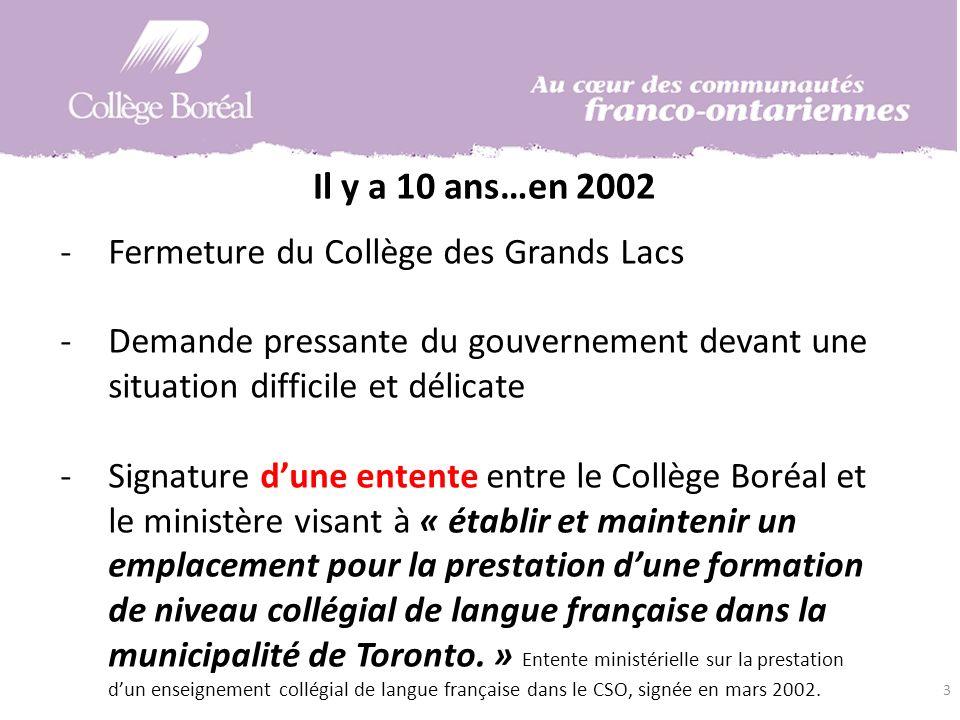 Il y a 10 ans…en 2002 -Fermeture du Collège des Grands Lacs -Demande pressante du gouvernement devant une situation difficile et délicate -Signature dune entente entre le Collège Boréal et le ministère visant à « établir et maintenir un emplacement pour la prestation dune formation de niveau collégial de langue française dans la municipalité de Toronto.