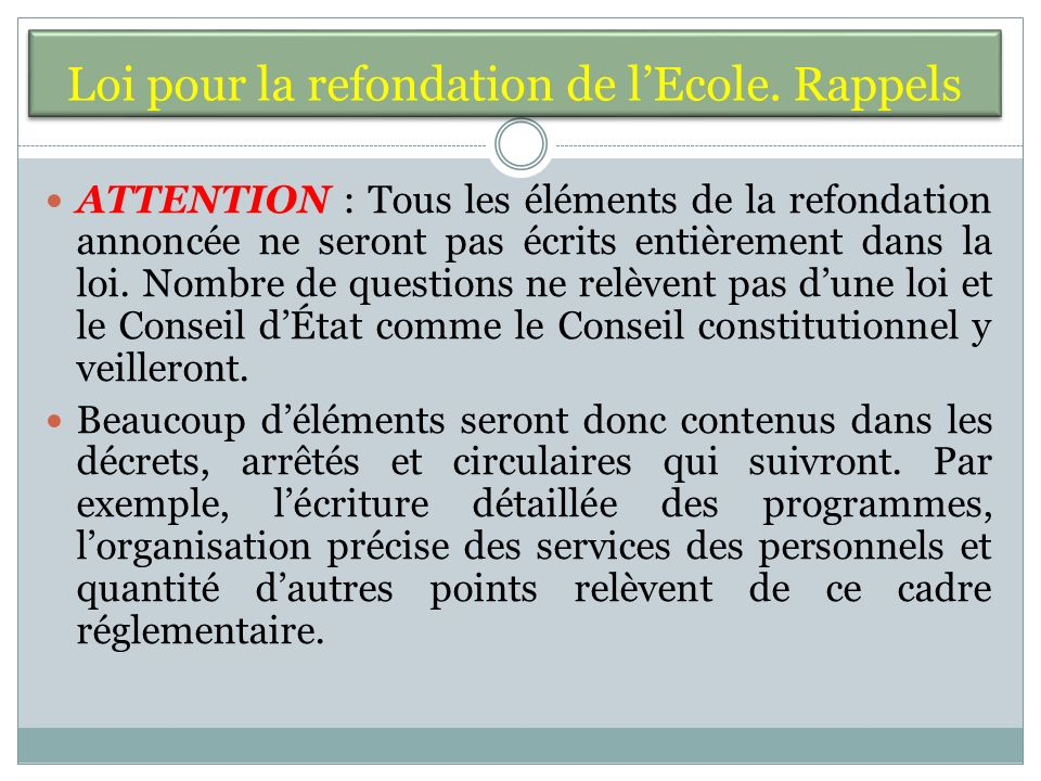 Loi pour la refondation de lEcole.