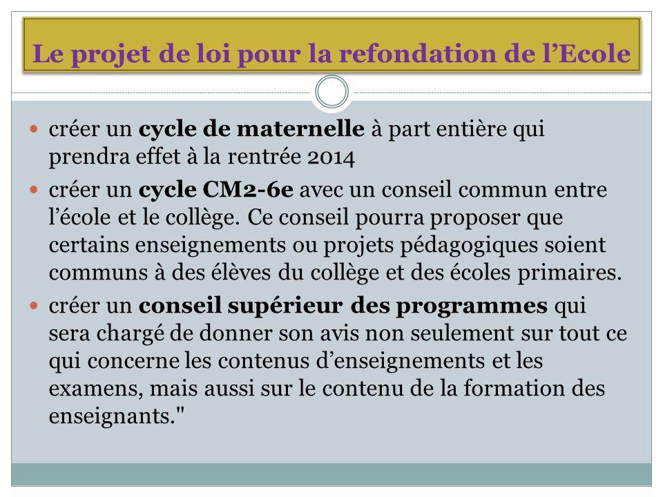 Le projet de loi pour la refondation de lEcole créer un cycle de maternelle à part entière qui prendra effet à la rentrée 2014 créer un cycle CM2-6e avec un conseil commun entre lécole et le collège.