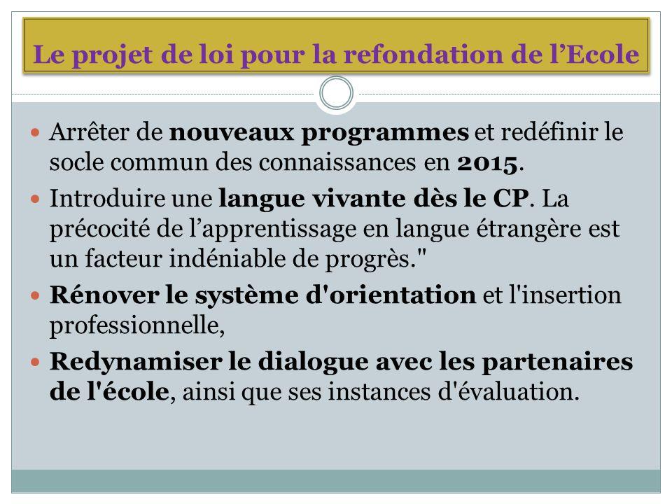 Le projet de loi pour la refondation de lEcole Arrêter de nouveaux programmes et redéfinir le socle commun des connaissances en 2015.