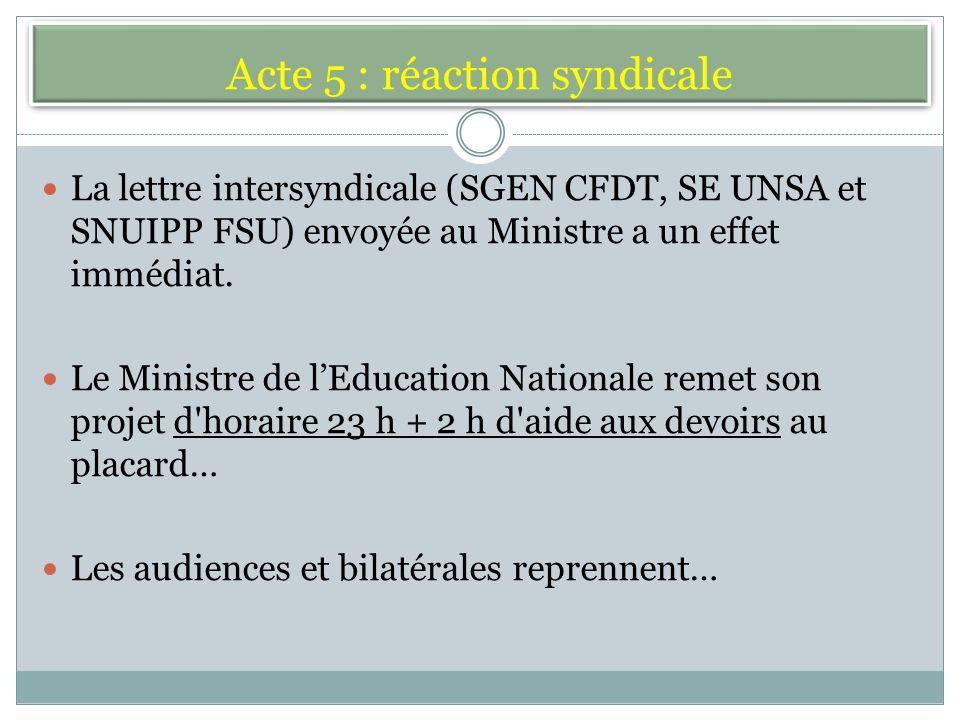 Acte 5 : réaction syndicale La lettre intersyndicale (SGEN CFDT, SE UNSA et SNUIPP FSU) envoyée au Ministre a un effet immédiat.