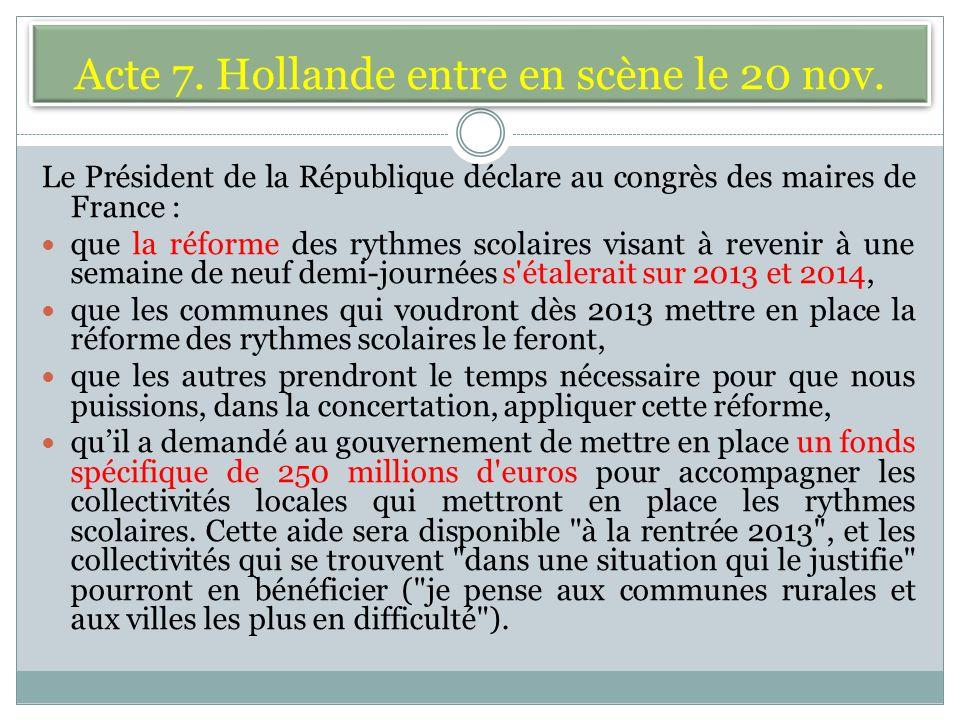 Acte 7. Hollande entre en scène le 20 nov.