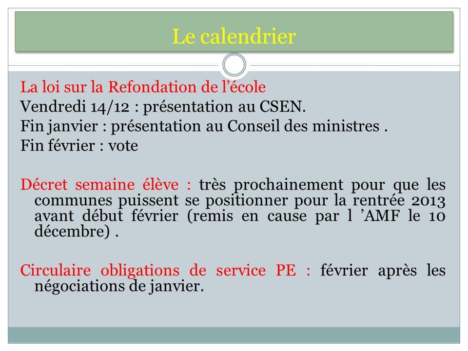 Le calendrier La loi sur la Refondation de lécole Vendredi 14/12 : présentation au CSEN.
