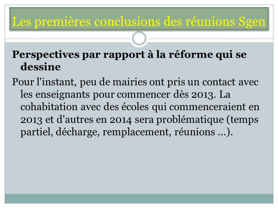 Les premières conclusions des réunions Sgen Perspectives par rapport à la réforme qui se dessine Pour l instant, peu de mairies ont pris un contact avec les enseignants pour commencer dès 2013.