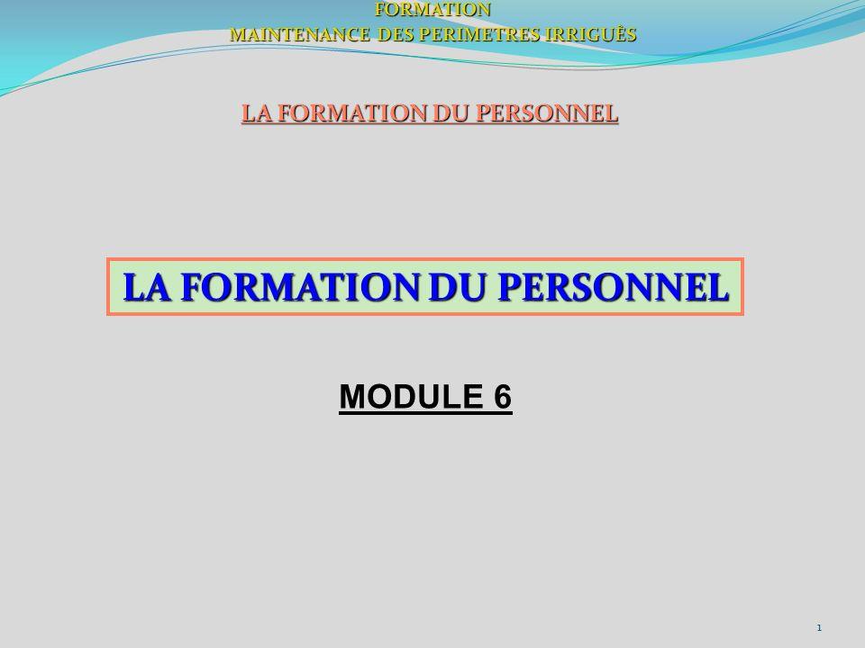 1FORMATION MAINTENANCE DES PERIMETRES IRRIGUÈS LA FORMATION DU PERSONNEL MODULE 6