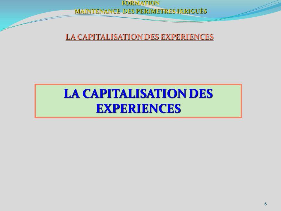 6FORMATION MAINTENANCE DES PERIMETRES IRRIGUÈS LA CAPITALISATION DES EXPERIENCES