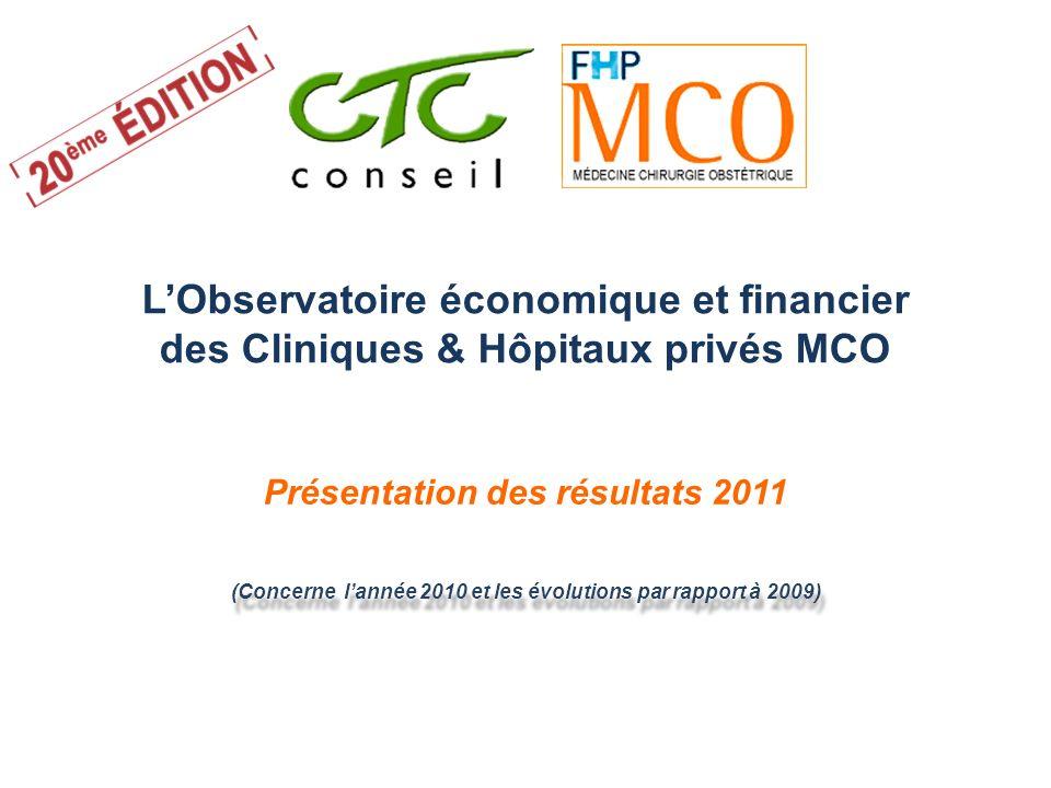 LObservatoire économique et financier des Cliniques & Hôpitaux privés MCO Présentation des résultats 2011 (Concerne lannée 2010 et les évolutions par
