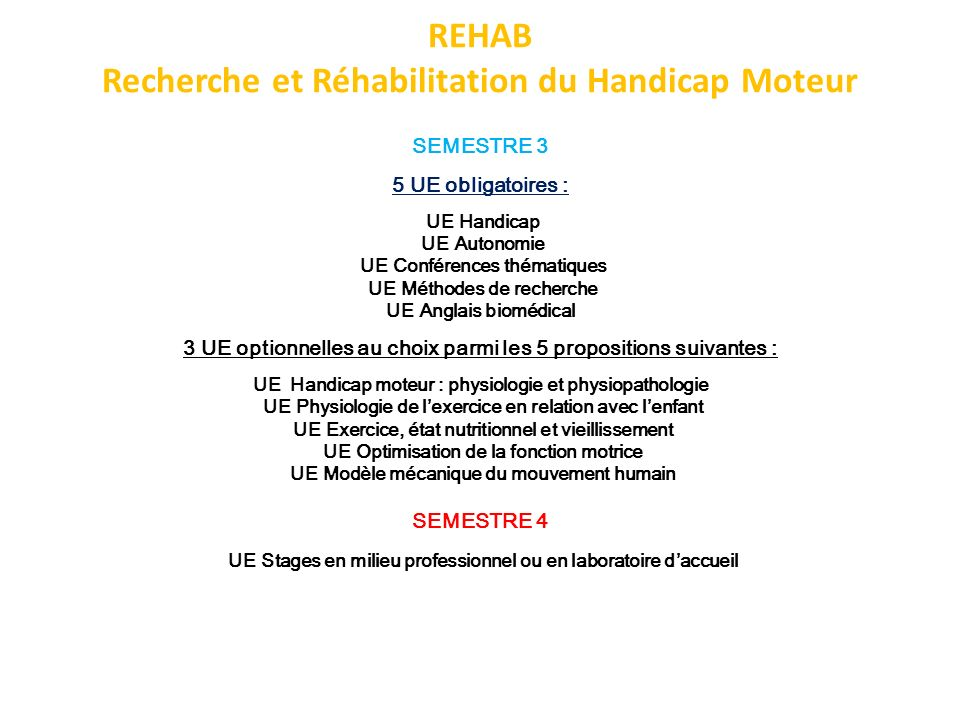 REHAB Recherche et Réhabilitation du Handicap Moteur SEMESTRE 3 5 UE obligatoires : UE Handicap UE Autonomie UE Conférences thématiques UE Méthodes de