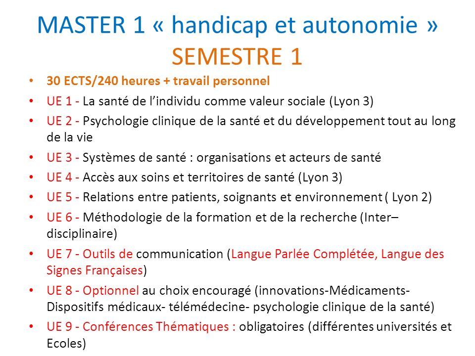 MASTER 1 « handicap et autonomie » SEMESTRE 1 30 ECTS/240 heures + travail personnel UE 1 - La santé de lindividu comme valeur sociale (Lyon 3) UE 2 -