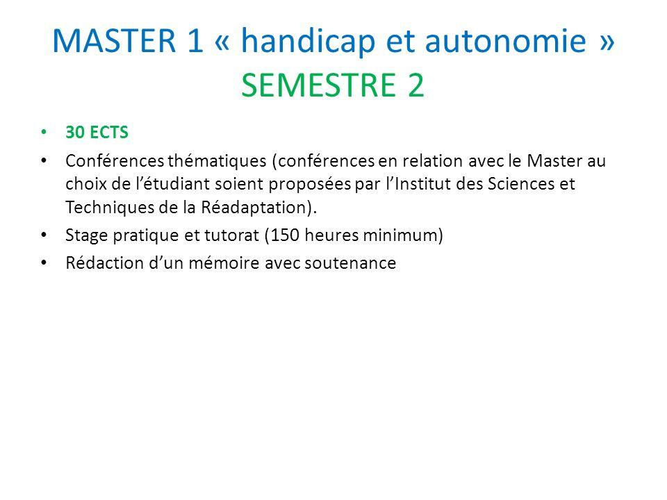 MASTER 1 « handicap et autonomie » SEMESTRE 2 30 ECTS Conférences thématiques (conférences en relation avec le Master au choix de létudiant soient pro