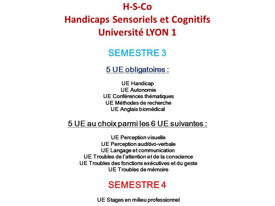 H-S-Co Handicaps Sensoriels et Cognitifs Université LYON 1 SEMESTRE 3 5 UE obligatoires : UE Handicap UE Autonomie UE Conférences thématiques UE Métho