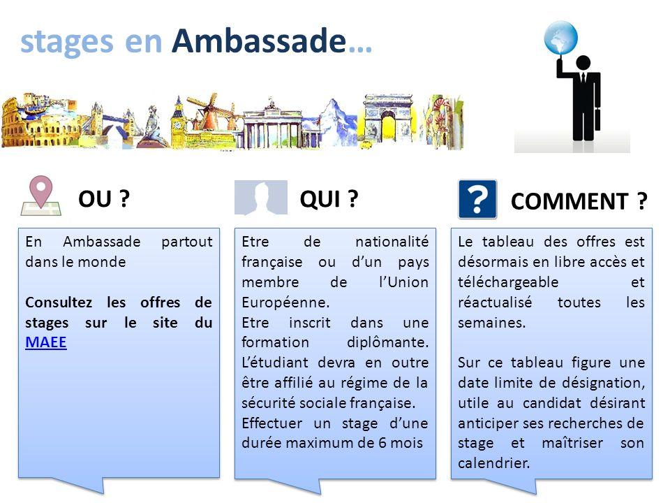 stages en Ambassade… En Ambassade partout dans le monde Consultez les offres de stages sur le site du MAEE MAEE En Ambassade partout dans le monde Con