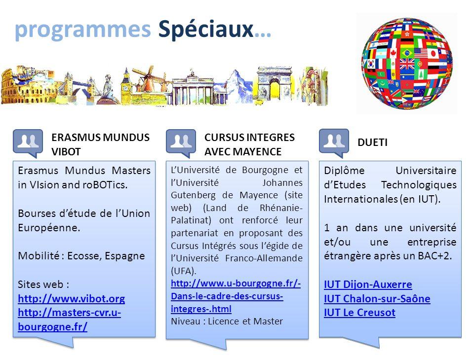 programmes Spéciaux… Erasmus Mundus Masters in VIsion and roBOTics. Bourses détude de lUnion Européenne. Mobilité : Ecosse, Espagne Sites web : http:/