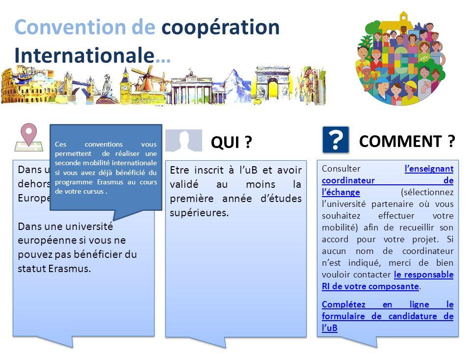 Convention de coopération Internationale… Dans une Université en dehors de lUnion Européenne. Dans une université européenne si vous ne pouvez pas bén