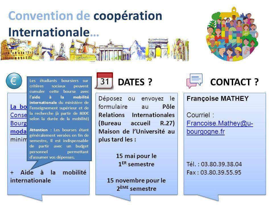 liens Utiles… Pôle RI, Université de Bourgogne : http://www.u-bourgogne.fr/-Etudiants-de-l-uB-.html Bourse de mobilité, Conseil Régional de Bourgogne : https://service.cr-bourgogne.fr/bmi/ MAEE : http://www.diplomatie.gouv.fr/ Agence 2e2f : http://www.europe-education-formation.fr/ Aide à la mobilité internationale : http://bit.ly/pjUtbB Réalisation David FOFI Myriam CABARET