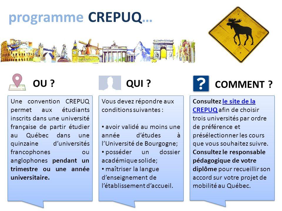 programme CREPUQ… Une convention CREPUQ permet aux étudiants inscrits dans une université française de partir étudier au Québec dans une quinzaine dun