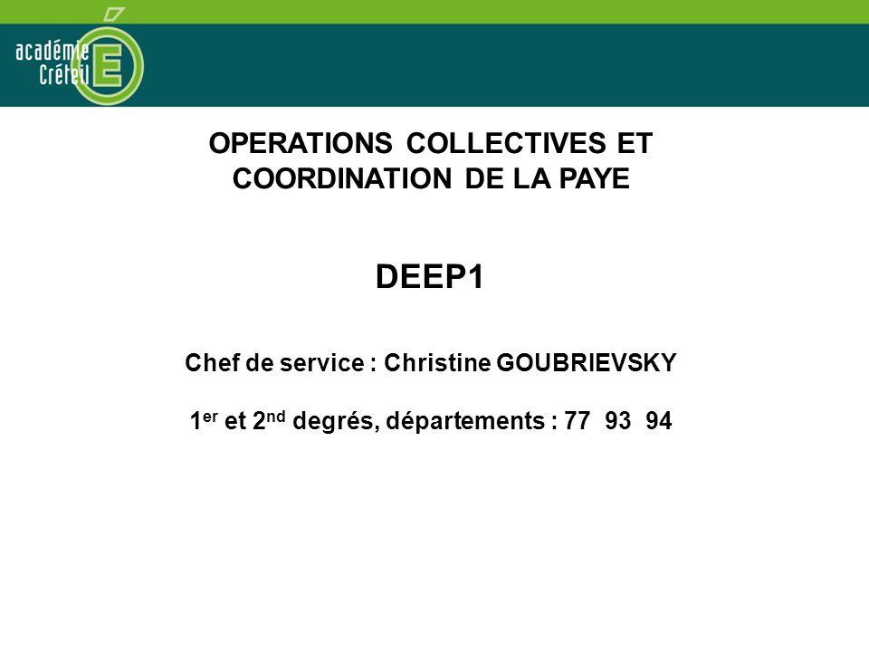 OPERATIONS COLLECTIVES ET COORDINATION DE LA PAYE DEEP1 Chef de service : Christine GOUBRIEVSKY 1 er et 2 nd degrés, départements : 77 93 94
