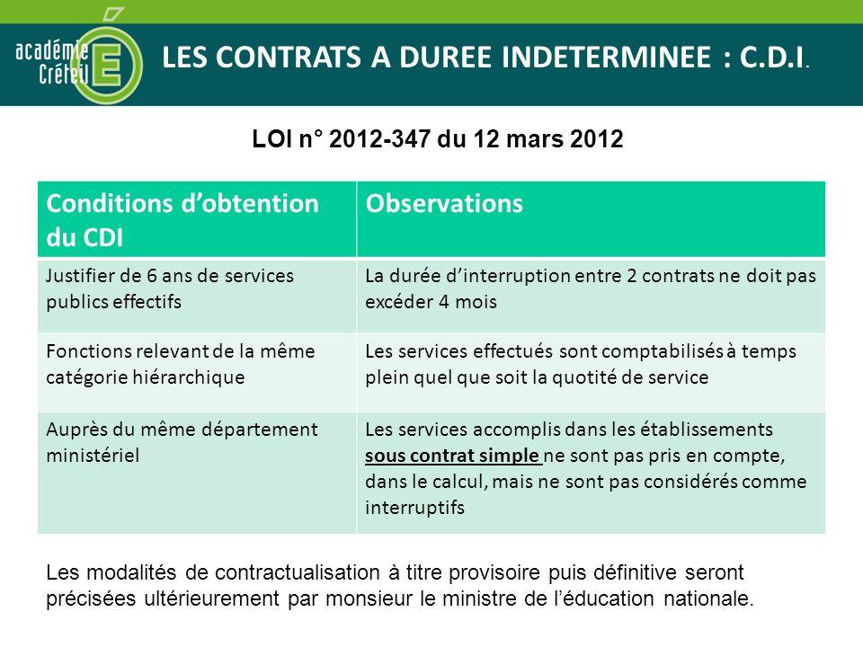 LES CONTRATS A DUREE INDETERMINEE : C.D.I. LOI n° 2012-347 du 12 mars 2012 Conditions dobtention du CDI Observations Justifier de 6 ans de services pu