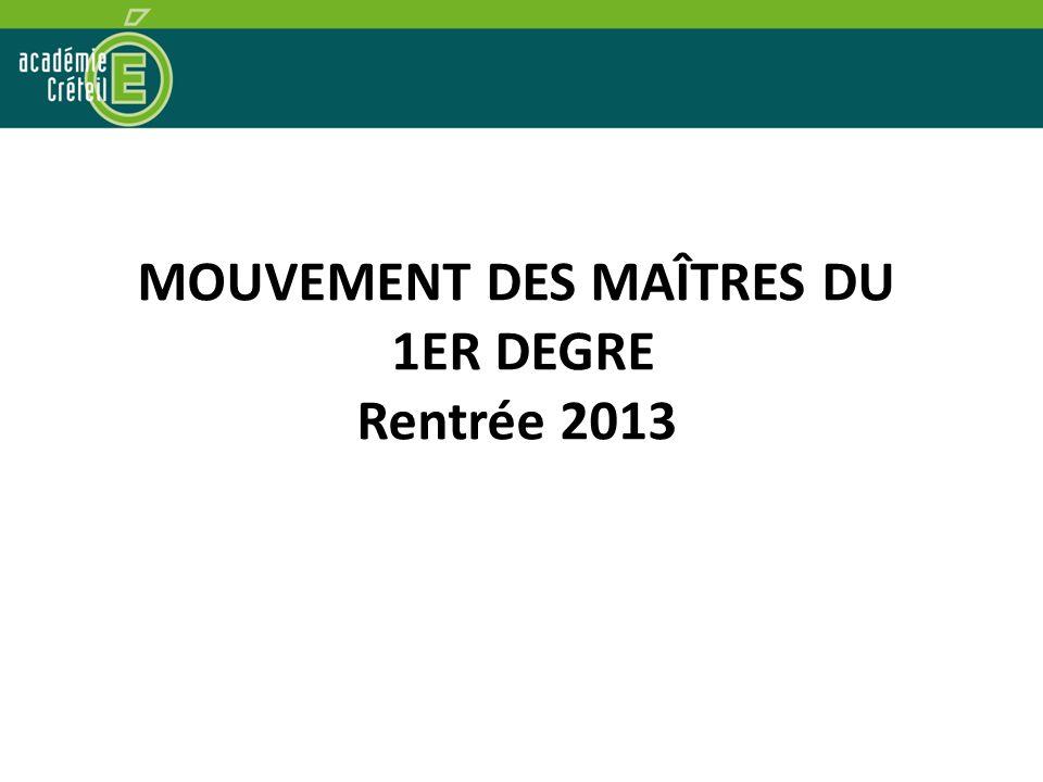 MOUVEMENT DES MAÎTRES DU 1ER DEGRE Rentrée 2013