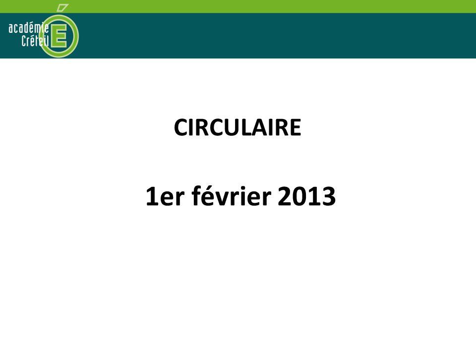CIRCULAIRE 1er février 2013